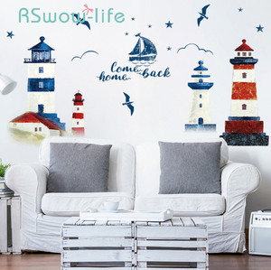 Image 1 - 60*90CM Room Decoration Mediterranean Lighthouse Wall Sticker PVC Background Decoration Sticker For Wall Decor