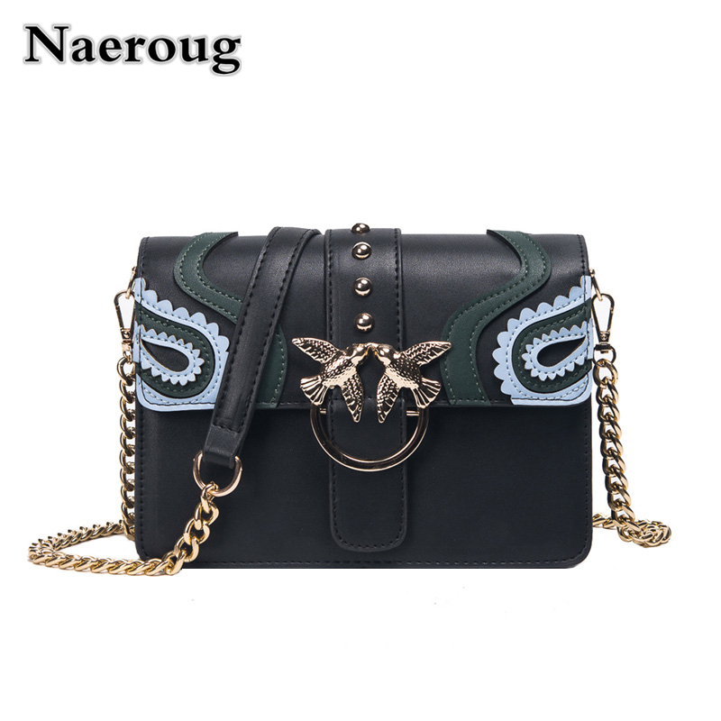 Luxury Flap Handbag Women Designer Leather Chain Shoulder Bag Bird Buckle Messenger Bag Rivet Swallow Crossbody Bag Small Clutch summer vintage women lace hole jeans high waist floral embroidery fashion ankle length cross pants women denim jeans harem pants