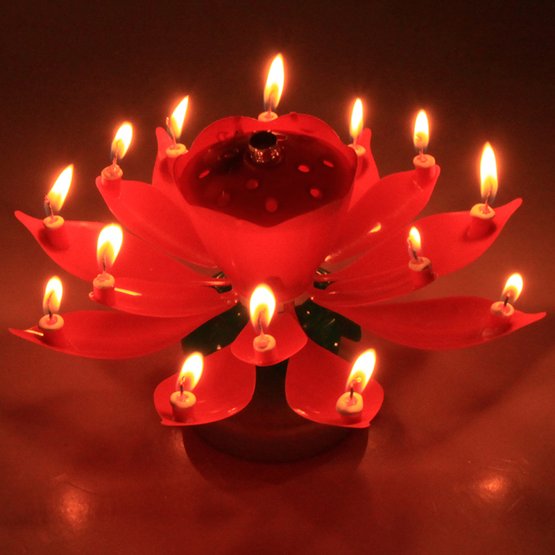 1PC Beautiful Blossom Lotus Flower Candle Birthday Party Cake Music