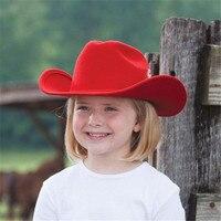 100 Wool Winter Autumn Kids Child Felt Western Cowboy Hat For Girl Boy Cowgirl Cap Jazz