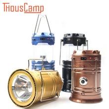 Free Shipping Camping Lamp Tent Light Lantern Solar Power USB Portable Rechargeable LED Flashlight цена