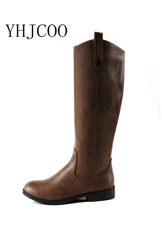 Quality PU Autumn Women Riding Equestrian Motorcycle Boots Low Square heel Simple Calf boots Women Fashion Black Brown Shoes 43