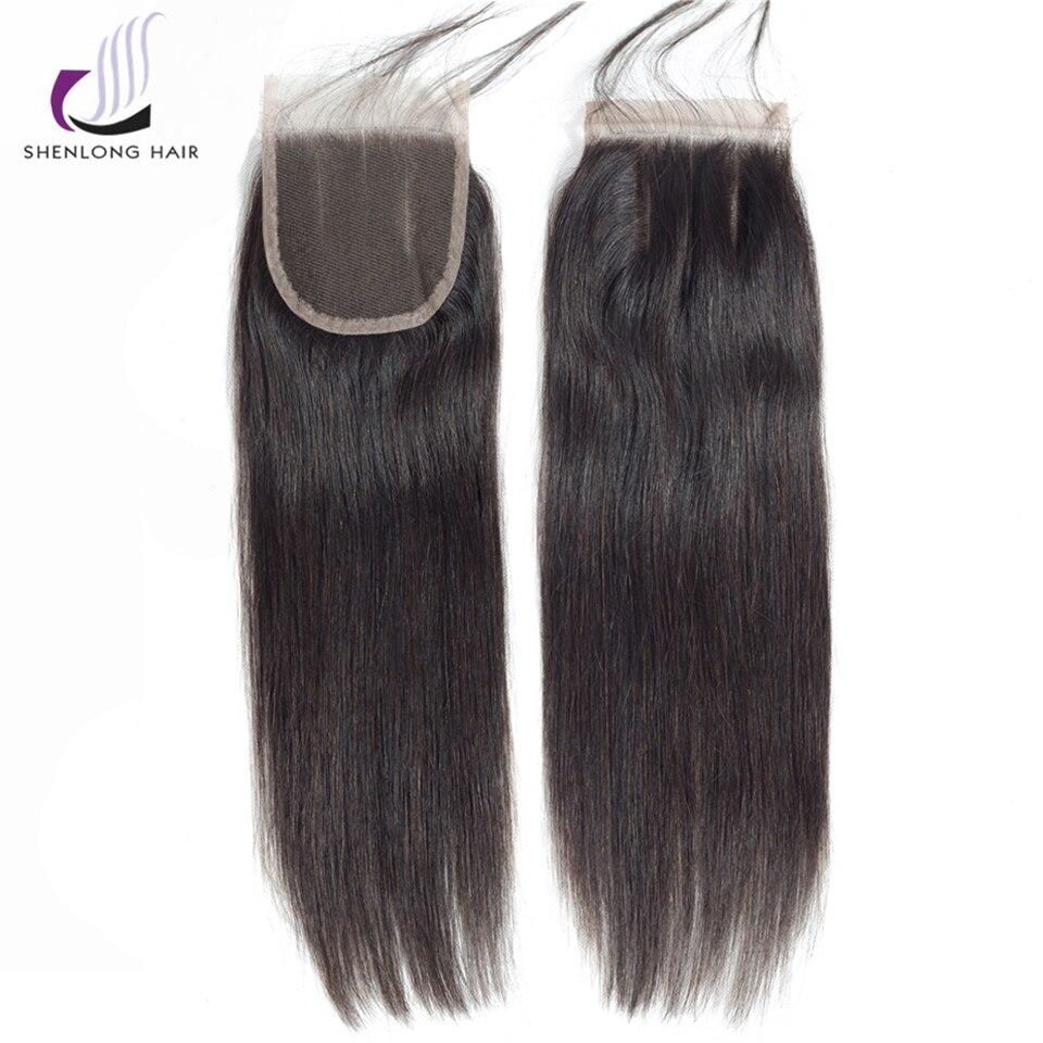 SHENLONG HAIR 4 * 4 Mongolian Straight Lce Closure Mänskligt Hår - Mänskligt hår (svart) - Foto 3