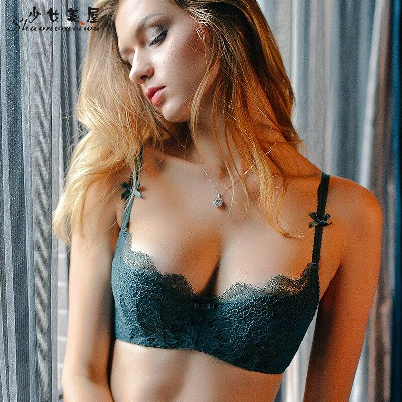 Shaonvmeiwu Women sexy eyelash lace underwear together thin cotton underwear bra set of big yards deep V wipes bosom