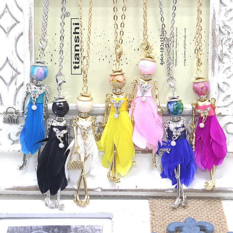 2015 new arrival PARIS Handmade Dance Doll Pendants Necklace anti silver necklace Fashion women girl kids necklace bag charms