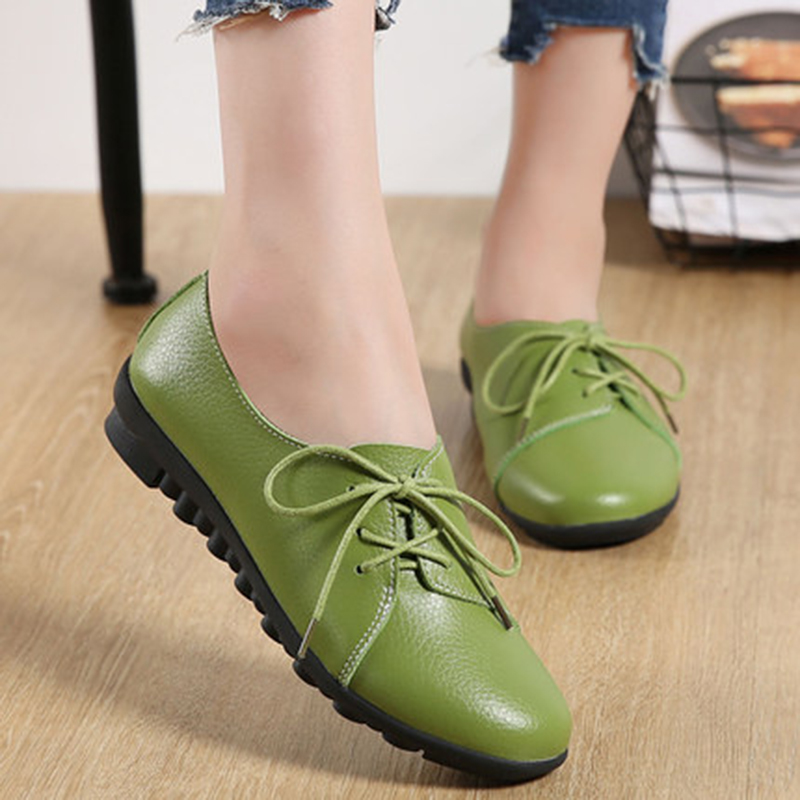 New Arrival women flats 2018 Women Leather Spring Lovely Solid Women Flats Shoes Woman Causal Loafers
