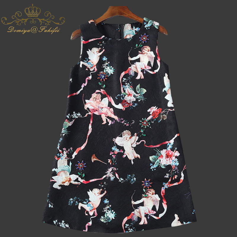 2018 Spring & Summer High Quality Casual O-Neck Sleeveless Flower Print A-Line Elegant Knee-Length Dress Women Family Clothing stylish jewel neck sleeveless print spliced women s sundress