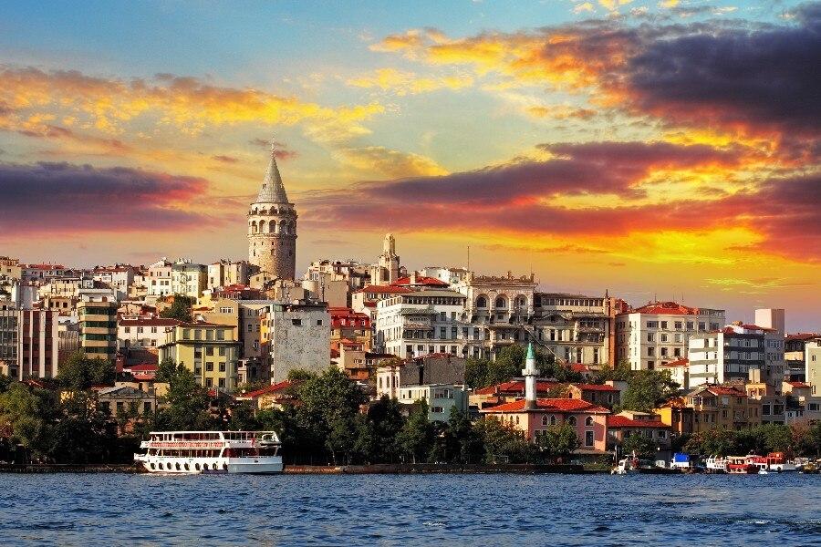 Trkei Istanbul Meer Gebude City View Poster Und Druck Glnzend Seide Stoff Tuch Kunst Wanddekor