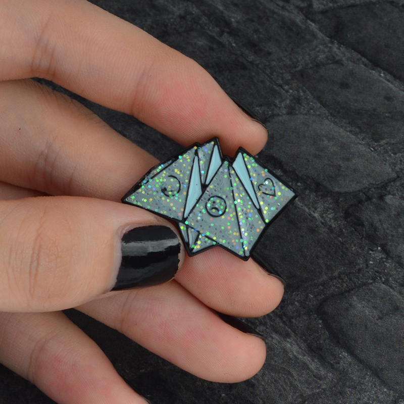 Enamel Pin Origami Game Heart Coffin Science Chemical Cobweb Matches