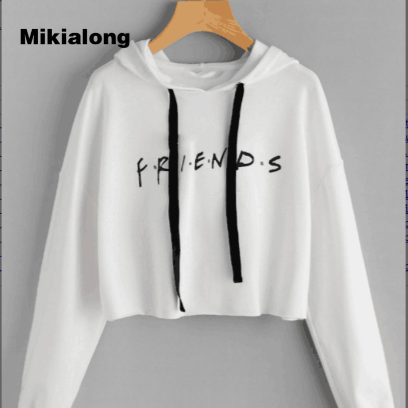 Mikialong 2017 Sexy White Cropped Hoodie Women Pullover ...