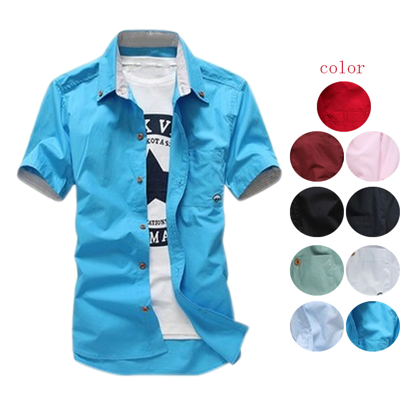 Fashion Summer Men Leisure Short Sleeves Shirt Casual Mushroom Embroidery Shirts Tops H9