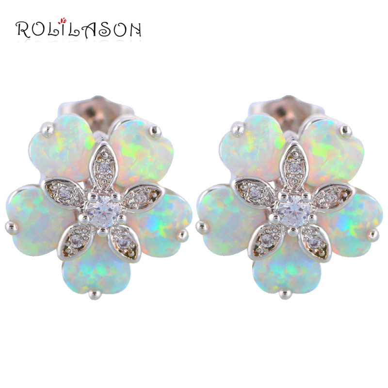 floating charms Flower shape five White Fire Opal Stamped Silver Stamped Stud Earrings Australia Zirconia Fashion Jewelry OE356