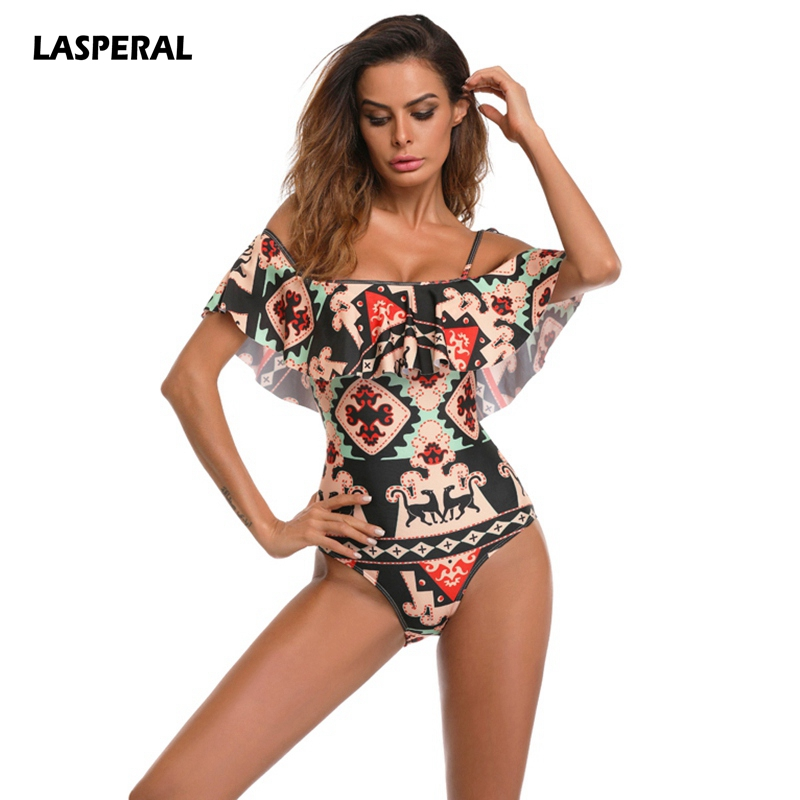 LASPERAL Sexy Off Shoulder Swimwear Retro Print Women One Piece Swimsuit Female Bathing Suit Ruffle Monokini Plus Size Swimwear women one piece triangle swimsuit cover up sexy v neck strappy swimwear dot dress pleated skirt large size bathing suit 2017