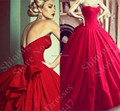 Abendkleider Luxury Taffeta Red Ball Gown Prom Dresses 2017 Hot Sale Gothic Sexy Women Long Formal Evening Gowns Party Dresses