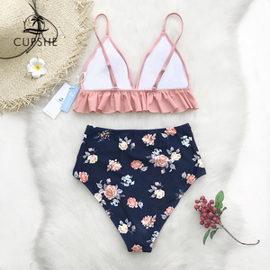 CUPSHE Pink And Floral Ruffled High-Waisted Bikini Sets Women Cute Two Pieces Swimsuits 2020 Girl Beach Bathing Suits