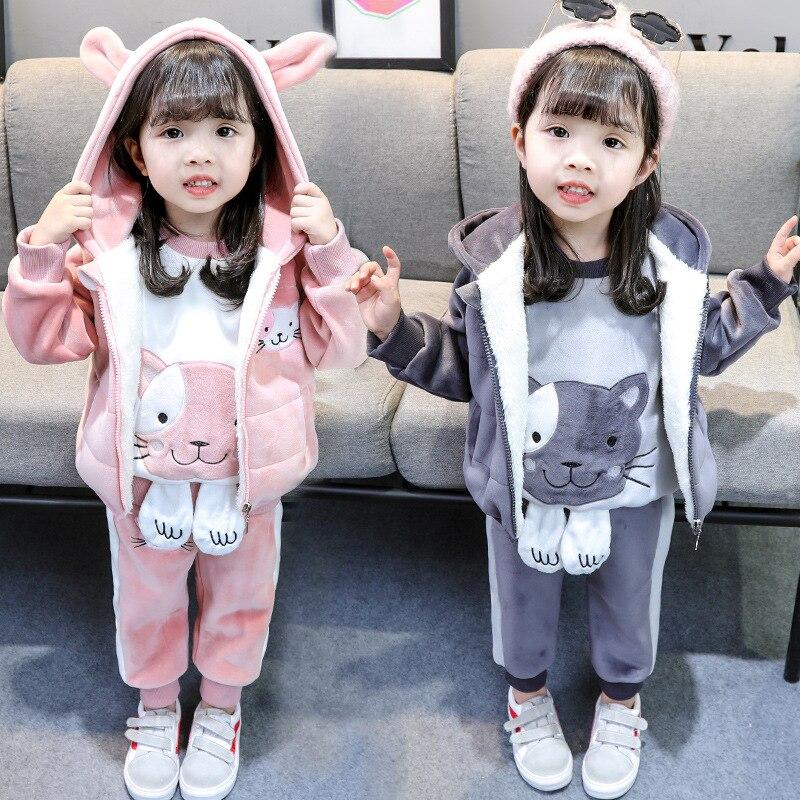 14c230bee5c Осень Зимняя одежда для мальчика детская плюс бархат трех частей костюм  2018 Новый Модная Одежда для