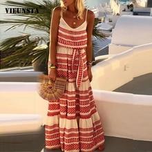 VIEUNSTA Women Off Shoulder Striped Print Boho Dress Fashion Beach Summer Dresses Ladies Backless Straps Long Maxi Dress Vestido