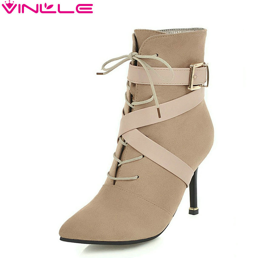 VINLLE 2019 Women Ankle Boots Thin High Heel All Match Flock Elegant Pointed Toe Women Shoes Boots Women Shoes Size 34 43