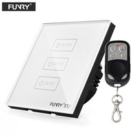 EU UK Standard FUNRY Remote Control Switch 3 Gang 1 Way Crystal Glass Remote Wall Touch