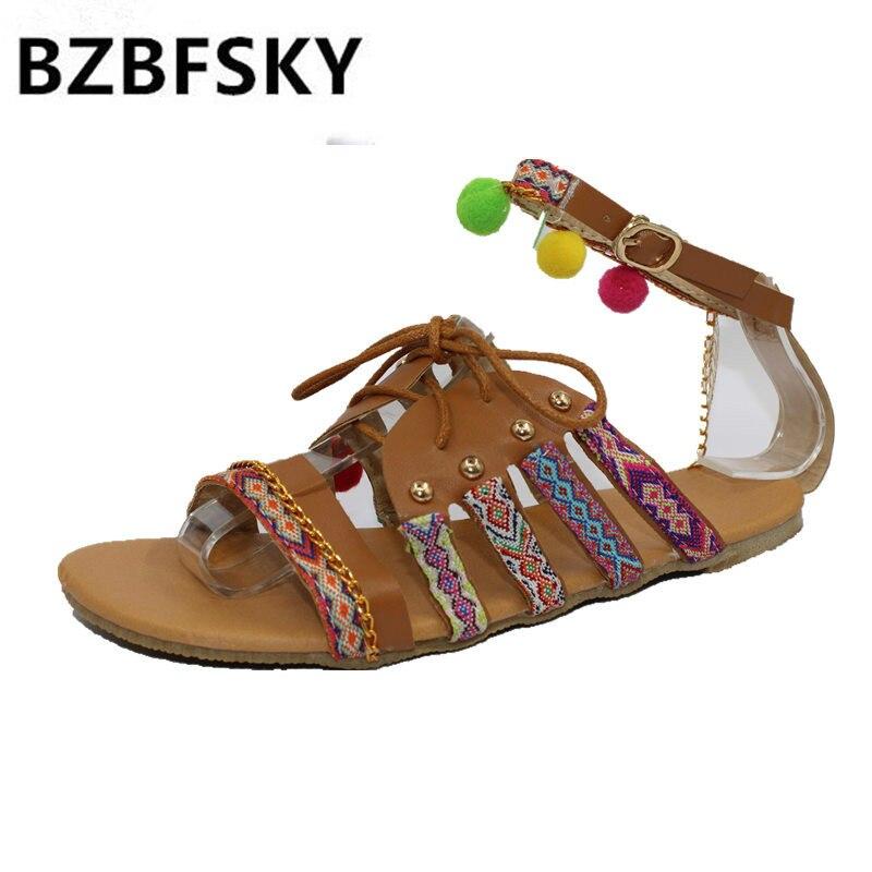 BZBFSKY 2018 Summer Flat Sandals Ladies Bohemia Beach Flip Flops Gladiator Women Shoes Sandles platform Zapatos Mujer Sandalias