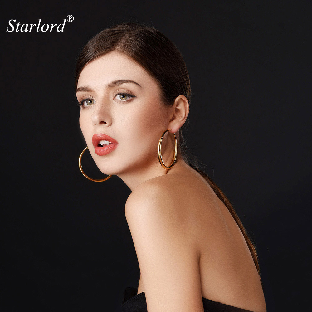 Big Round Earrings Simple Basketball Wives Fashion Jewelry For Women Hoop Earring Stainless Steel / Yellow Gold Color GE678