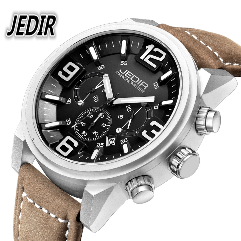 ФОТО JEDIR Watches Men Top Brand Military Quartz-watch Mens Luxury fashion casual Watch leather strap Clock 30M Waterproof Wristwatch