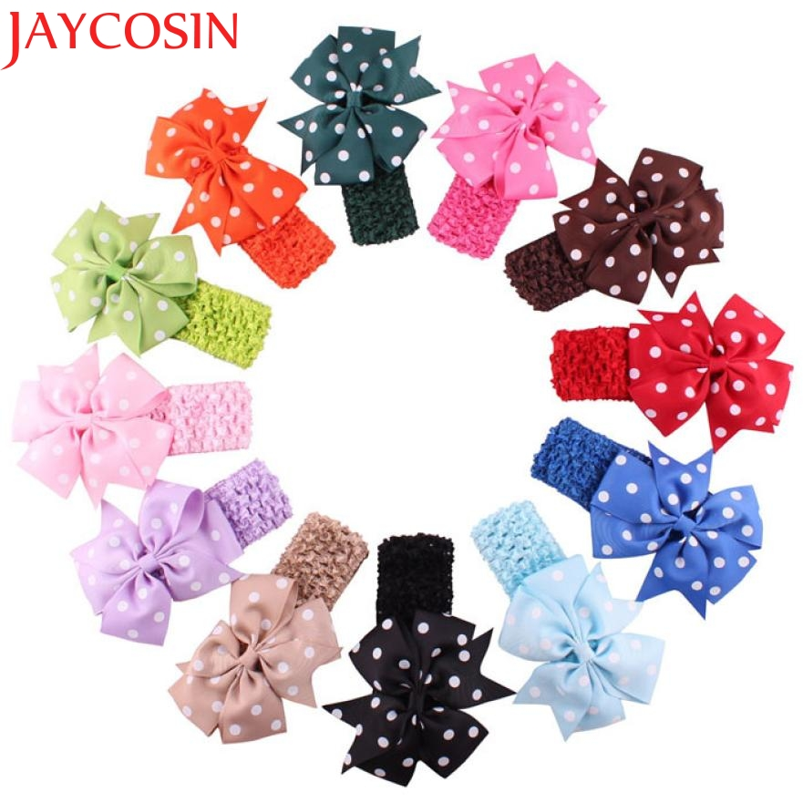 2016 Flower Dot  Headbands girl hair accessories headband cute hair band newborn floral headband H22 drop Shipping headband baby girl hair bows newborn elastic hair band kids cute children hair accessories ribbon head band with dot 2pcs set