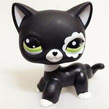 Lps настоящий редкий pet shop игрушки прекрасный Редкий черный Кот Голубые глаза белый розовый блеск котенок животные Детский подарок