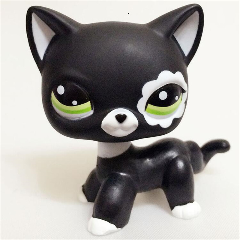 Lps Real Rare Pet Shop Toys Lovely Rare Black Cat Blue Eyes White Pink Glitter Kitten Animals Kids Gift Free Shipping