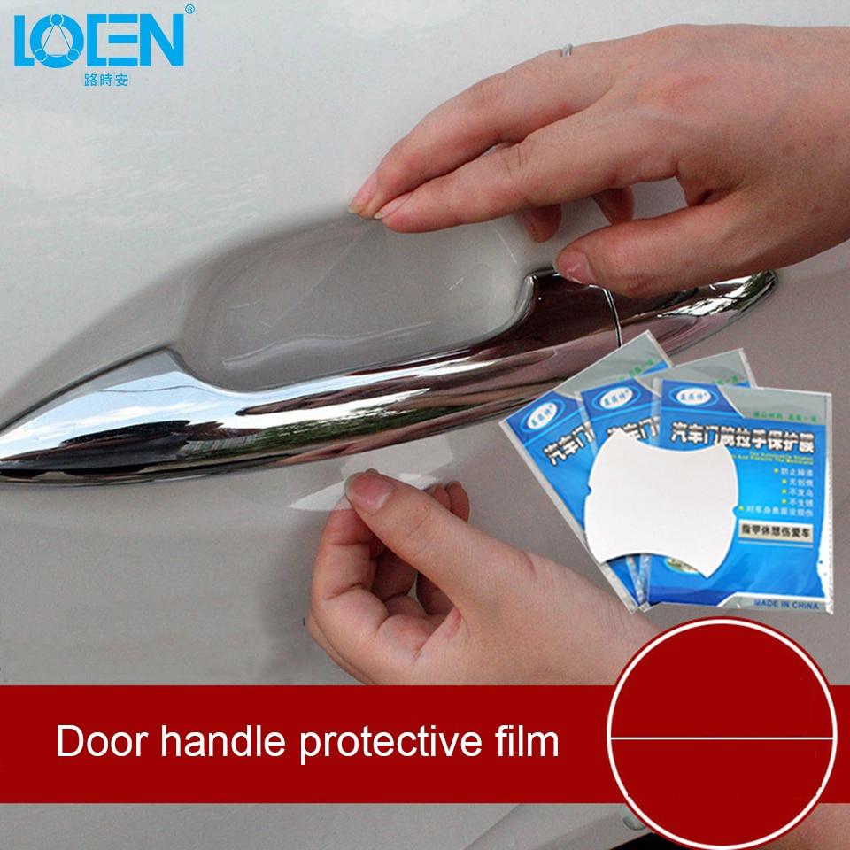 LOEN 4 PCS Car-styling Clear Transparent Door Handle Protective Film Car Door Handle Protection Protector Stickers