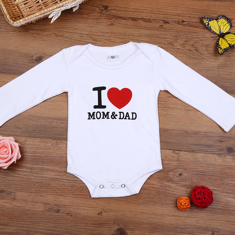 Hooyi <font><b>Baby</b></font> Bodysuits <font><b>Bodie</b></font> For <font><b>Babies</b></font> I LOVE MOM & DAD White Boy Coverall Bebies Costume 100% Cotton Jumpsuits Newborn Clothes image