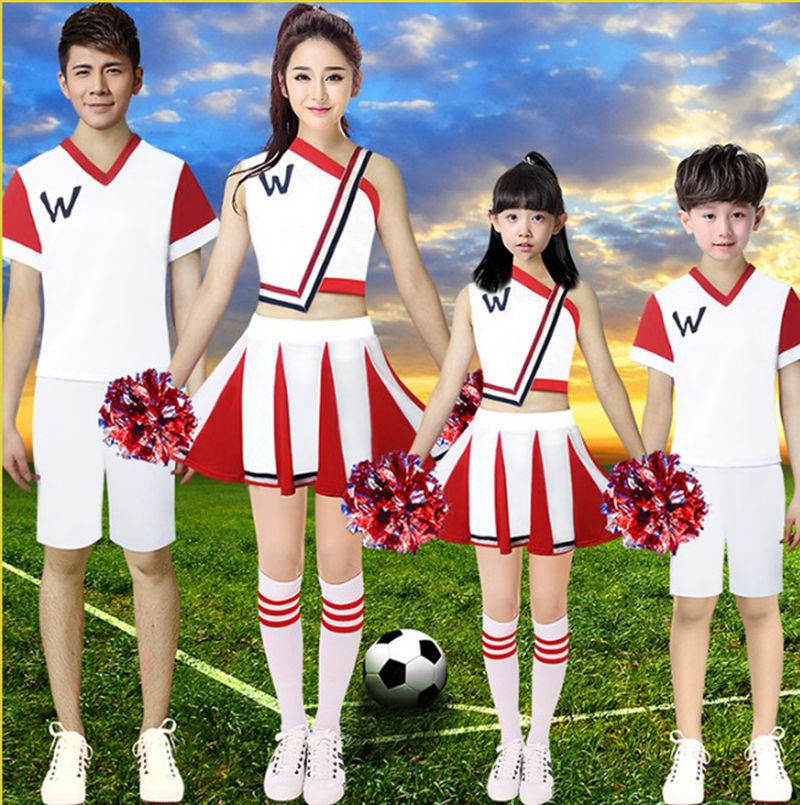 High Quality!Adult Women Cheerleader Costumes Stage Performance Dance Costumes Kids Girls Shoulder Off School Uniform Skirt