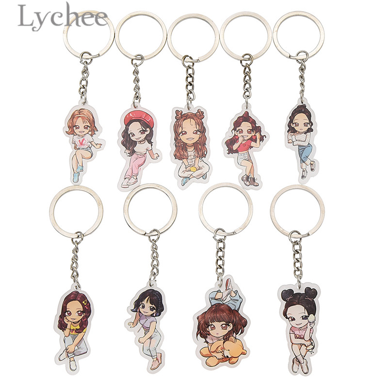 Lychee Trendy Alloy Twice What Is Love Keychain Cute Cartoon Character Key Chain Unisex Key Chains For Men Women Gifts