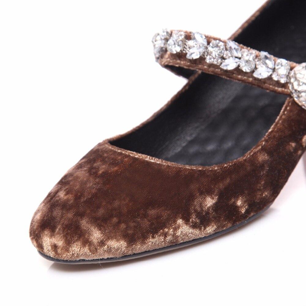 Pleuche 20170123 rouge Noir Confortable Rond café Boucle Lady Femmes Cristal Bout Printemps Casual Pompes Automne Chaussures qxO7EwOB6