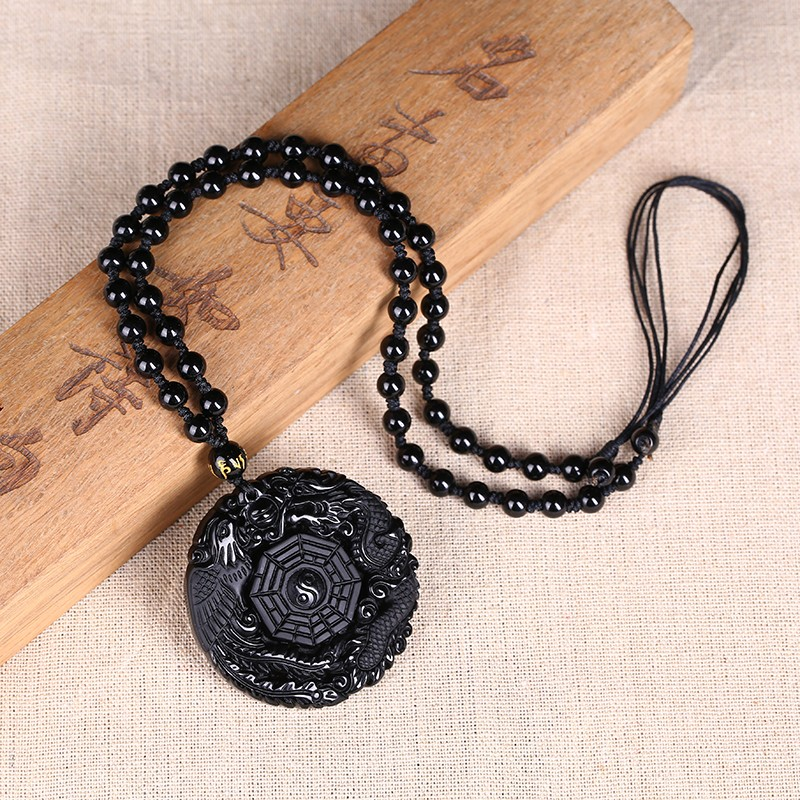 Black Obsidian Carving Dragon and Phoenix Necklace Pendant Obsidian Lucky Pendants Black Obsidian Carving Dragon and Phoenix Necklace Pendant Obsidian Lucky Pendants
