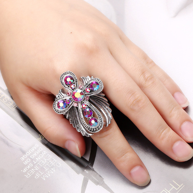 902 Creativity Design New Chic Inlay Cross Wings Finger Ring Women Adjustable Size Ring R1268