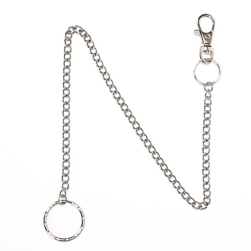 38cm Silver Ring Clip Keyring Jewelry Men's HipHop Keychain Rock Punk Trousers Hipster Pant Metal Wallet Belt Chain