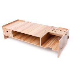 High Quality Wooden Desktop Monitor Riser TV Stand Holder Over Keyboard Desk Organizer Storage Space For Computer Laptop