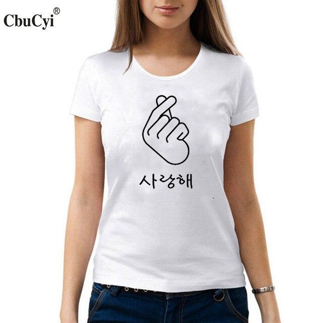 db70faf26a Finger Heart I Love You Korean Hangul T Shirt Hipster Women's Printed Short  Sleeve t-shirt Summer Women Tops Tee shirt femme