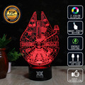 Lámpara de star wars millennium falcon 3d novelty night lights lámpara led usb luz de vacaciones regalo de navidad que brilla intensamente hui yuan marca