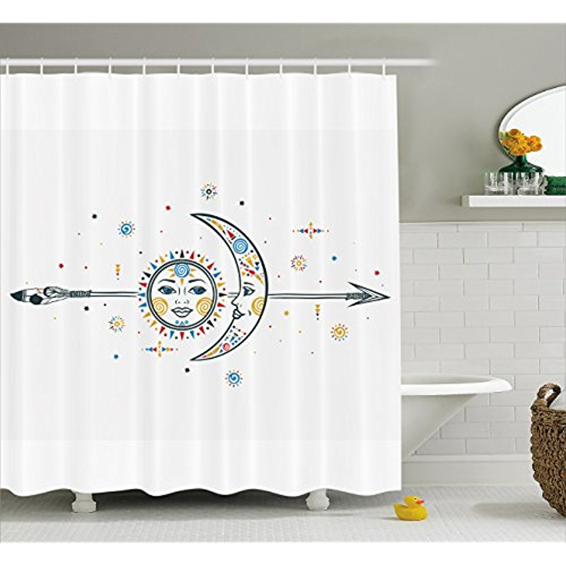 Vixm Farm House Decor Shower Curtain Ethnic Aztec Moon Sun With Spiral Vortex Stars Figures Occult Image Fabric Bath Curtains In From Home