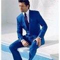 Free Shipping Gentleman Blue New Arrival Men Suit Tuxedos Groomsmen One Button 2 Piece Set,For  Men Wedding Suit(jacket+Pants)