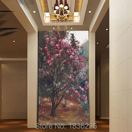 China Home Decor Wholesale Flower Painting Canvas Paintings Large Flower Paintings Magnolia Flower Oil Painting Hotel