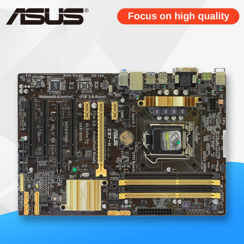 Asus Z87-K Desktop Motherboard Z87 Socket LGA 1150 i7 i5 i3 DDR3 32G SATA3 USB3.0 ATX for asus maximus vi extreme original new desktop motherboard m6e for intel z87 socket lga 1150 for i7 i5 i3 ddr3 32g usb3 0 atx