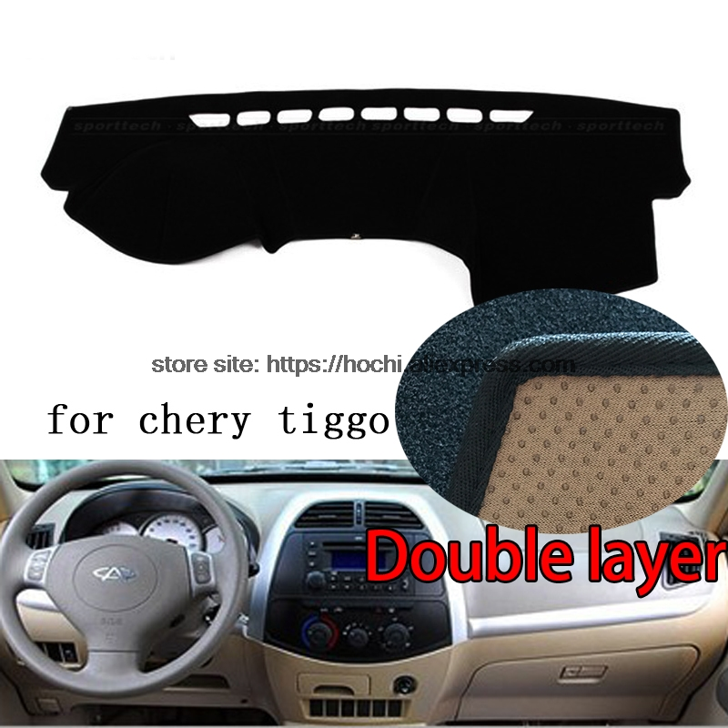 For chery tiggo 2005-2015 Double layer Silica gel Car Dashboard Pad Instrument Platform Desk Avoid Light Mats Cover Sticker цена и фото