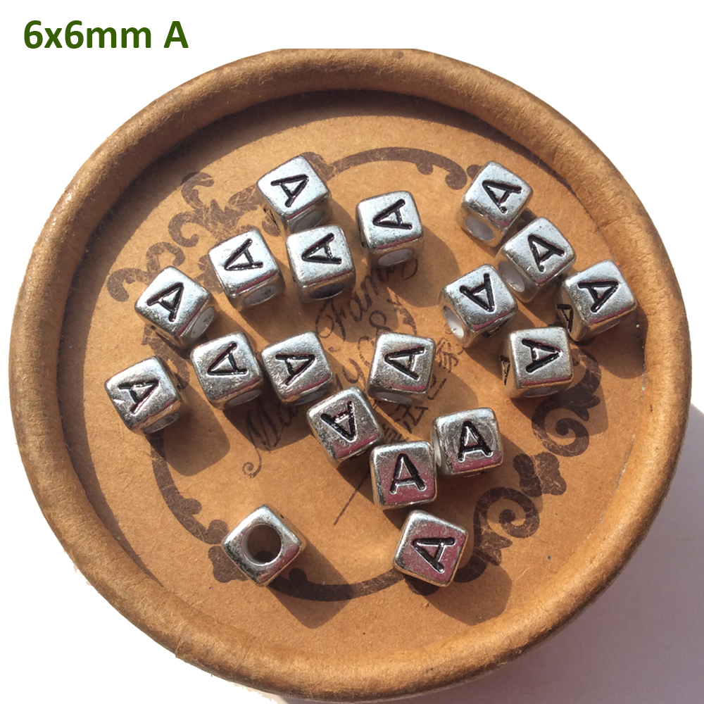 2019 Acrylic Silver Cube Single Letter Alphabet Beads Jewelry Finding 2600pcs 6mm A B C D E F G H I J K L M N O P Q R S T TO Z