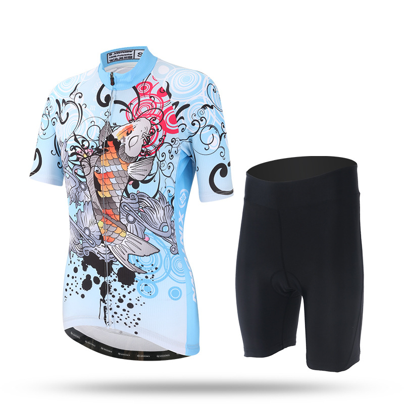 XINTOWN Team Womens Short Sleeve Ropa Ciclismo Maillot Cycling Jersey Set Mountain Bike Clothing Breathable Bicycle Clothes