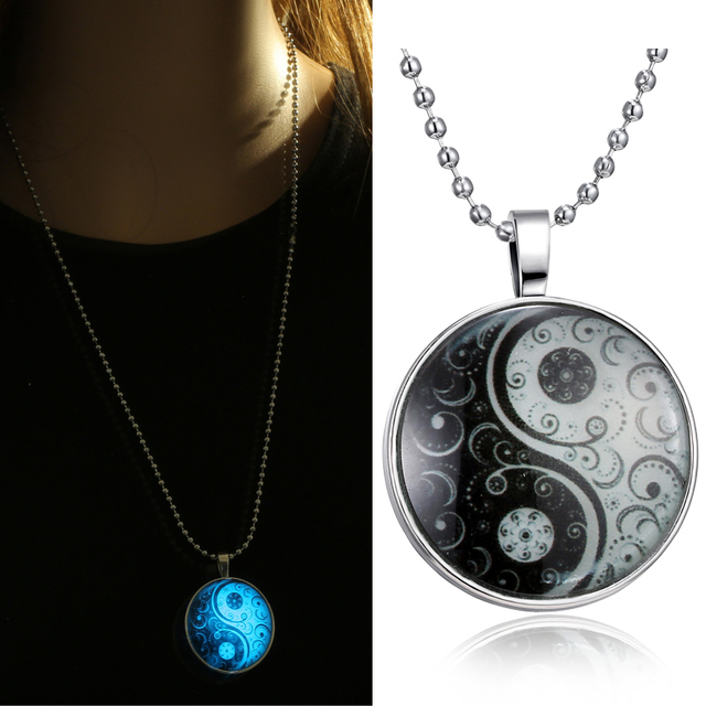 Glass Necklace Jewelry Glow in the dark necklaces for women  New Glowing necklace Yin Yang Pendants
