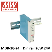 Original MEAN WELL MDR 20 5V 12V 15V 24V MINI switch power source 85 264VAC input 20W 12V 24V dc din rail power supply UL CE