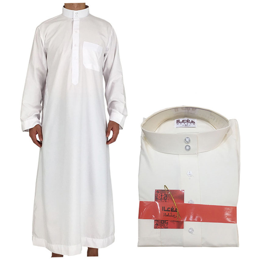 Ankle Length Long Solid White Polyester Jubba Thobe For Men Arab Muslim Islamic Kaftan Dress Robe Man Clothing Outfits 52-62